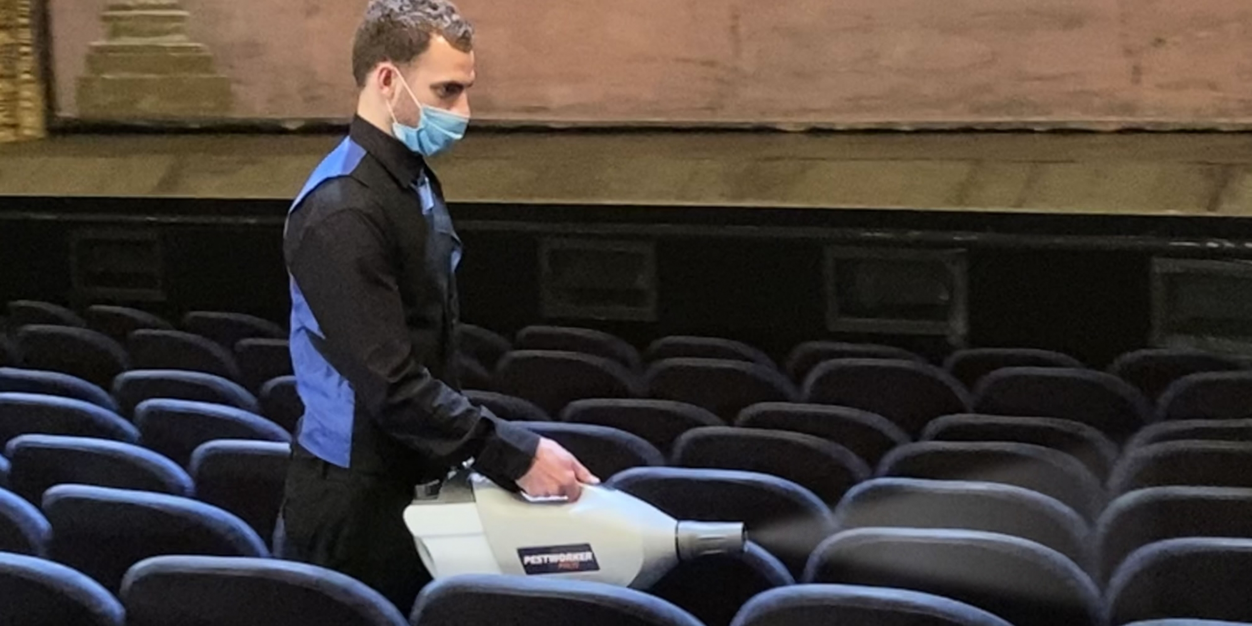 Fogging theatre with disinfectant